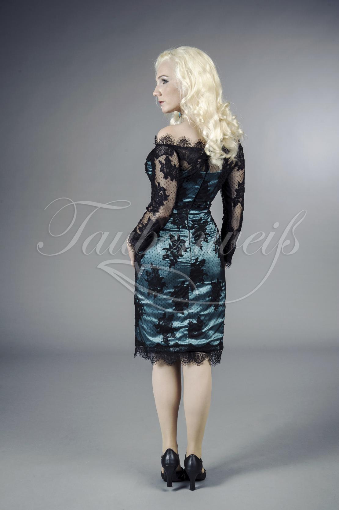 Abendkleid TW0035A in blau und schwarz aus Spitze