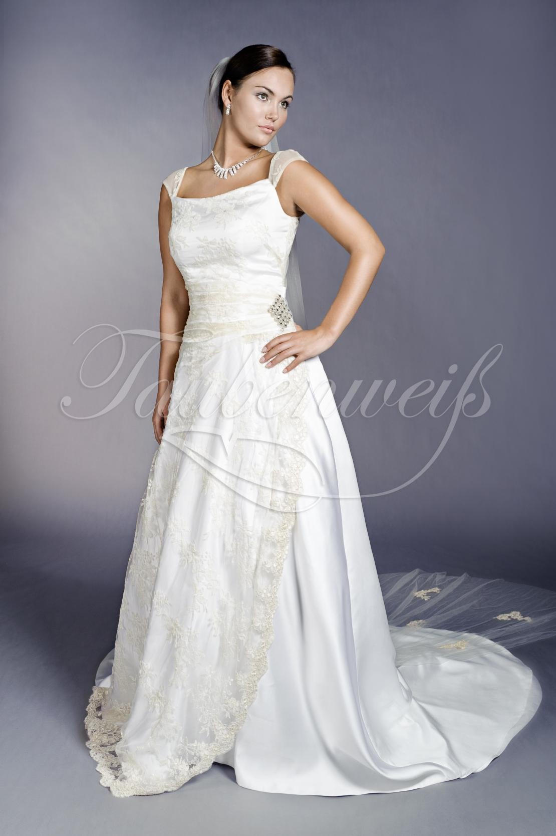 jetzt kaufen vielfältig Stile guter Verkauf Brautkleid TW0096B - Brautkleid TW0096B A-Linie Satin Spitze Träger  zweifarbig Schleppe Träger Schleppe